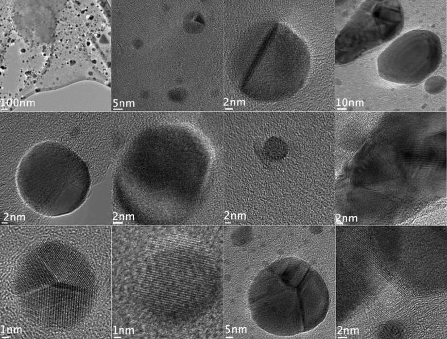 The dark spots in these images are nanodiamonds formed in hydrogenated anthracite coal when hit by beams from an electron microscope, according to researchers at Rice University.
