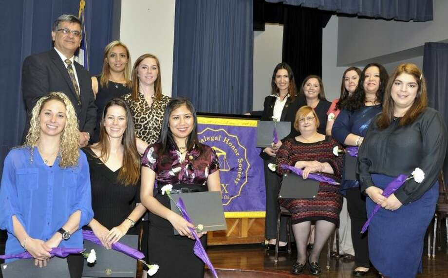 The San Jacinto College North Campus recently held an induction ceremony for students who joined Lambda Epsilon Chi (LEX), the national paralegal honor society. Those attending the ceremony include, from left, Ginger Alexander, Ernest Davila (North Campus business department chair), Melanie Springer, Julie Casas, Ashley Tighe, Nicole Mercado, Evlyn Cox, Sharon Cowan, Jeanette Liberty (San Jacinto College paralegal professor), Casey Wheeler, Maria Gonzalez, and Liane Lopez. Photo credit: LaVena Wilder, San Jacinto College multimedia support specialist.