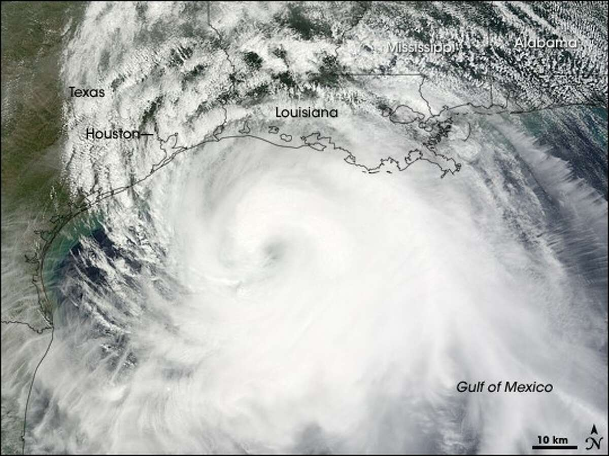This satellite image of Hurricane Ike shows the size of the storm shortly before it made landfall at Galveston Island as a Category 2 storm. At its peak, Ike was a Category 4 storm. It caused an estimated $37.5 billion dollars in damages.