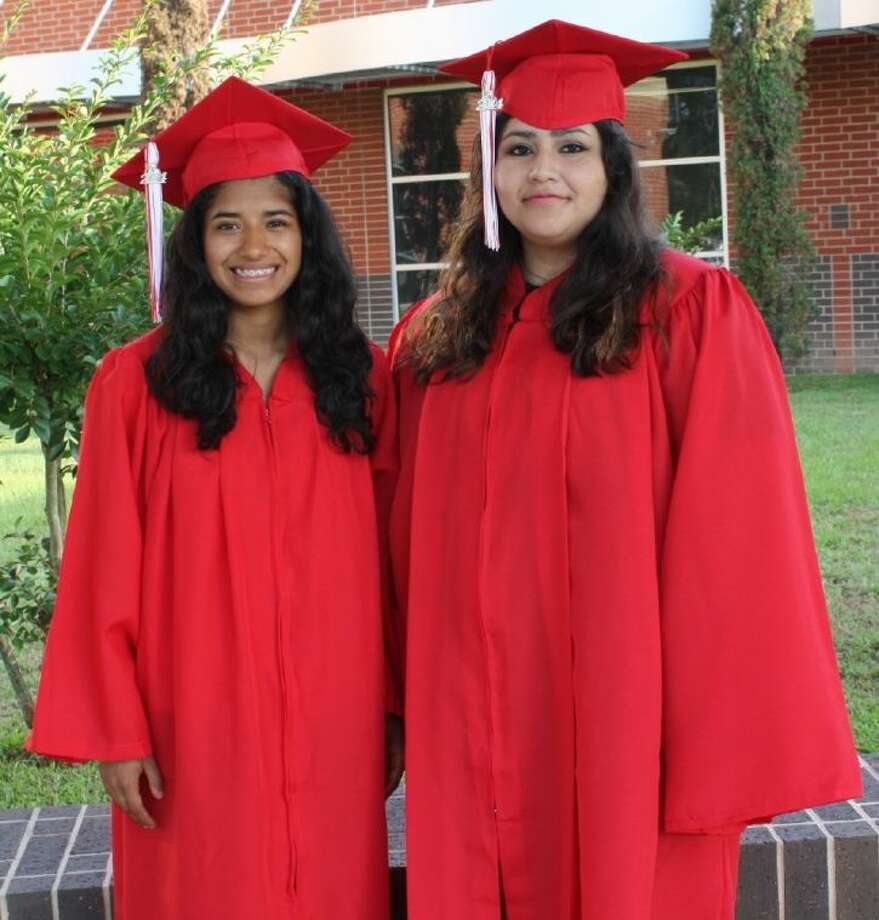 Kimberly Ramos and Kimberly Villalobos are the valedictorian and salutatorian, respectively, for the Splendora High School graduating class of 2014. Photo: Submitted Photo