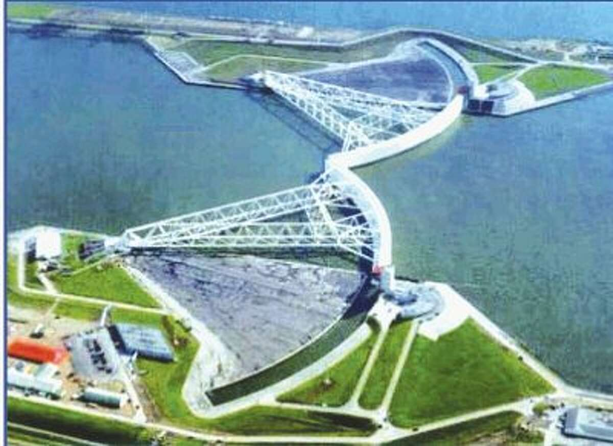 """$12 billion for a """"coastal spine"""" -- part of the so-called Ike Dike project (shown in the rendering above) in Galveston County to prevent a storm surge and $665 million for a similar project in Orange County east of Beaumont are part of a $61 billion state plan. Keep clicking for the price tag on other projects included in the plan."""
