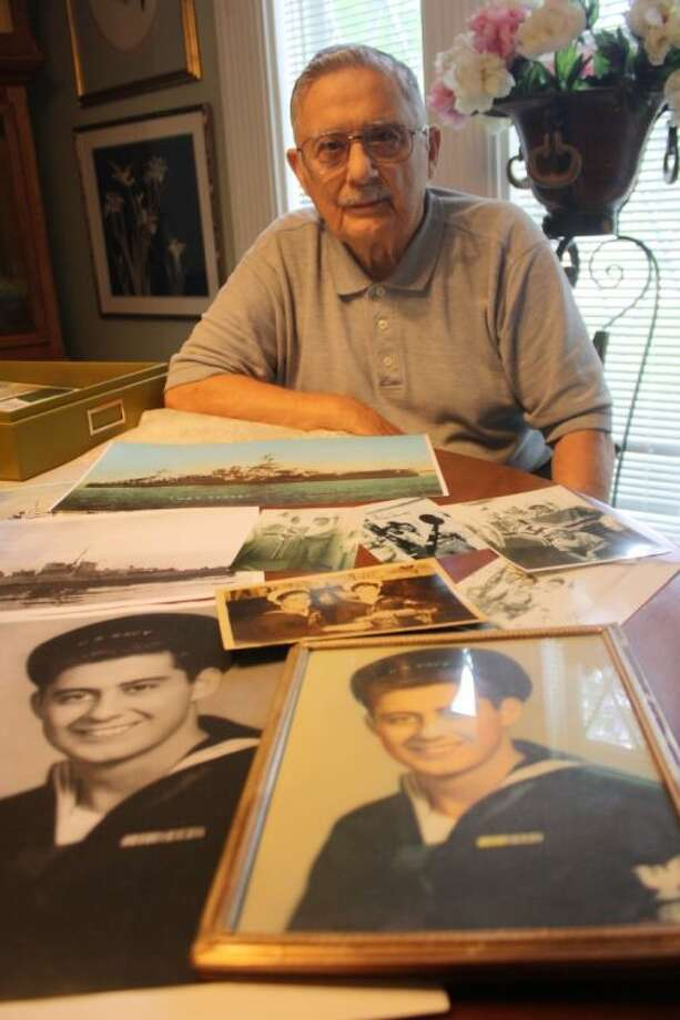 "Joe Battista was at Normandy on June 6, 1944, on-board the USS Somers, which its survivors refer to as the ""luckiest ship"" because all the men on board made it out of the largest seaborne invasion in history. He only recently began to share those memories. Photo: Y.C. OROZCO"