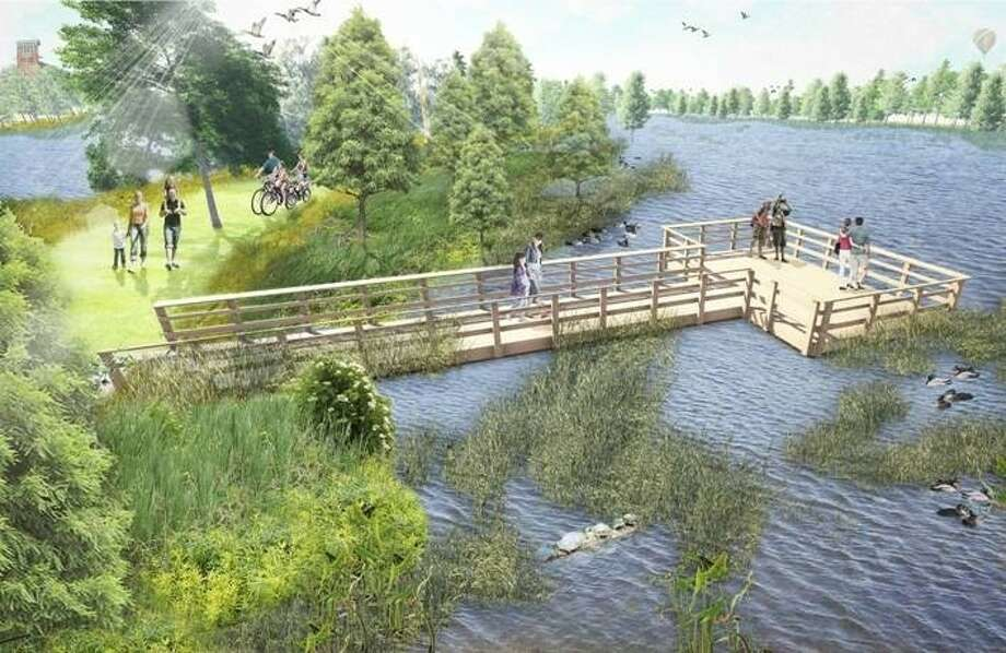 A computer rendering of the new boardwalk and nature overlook at Cross Creek Ranch in Fulshear. Photo: Submitted Image