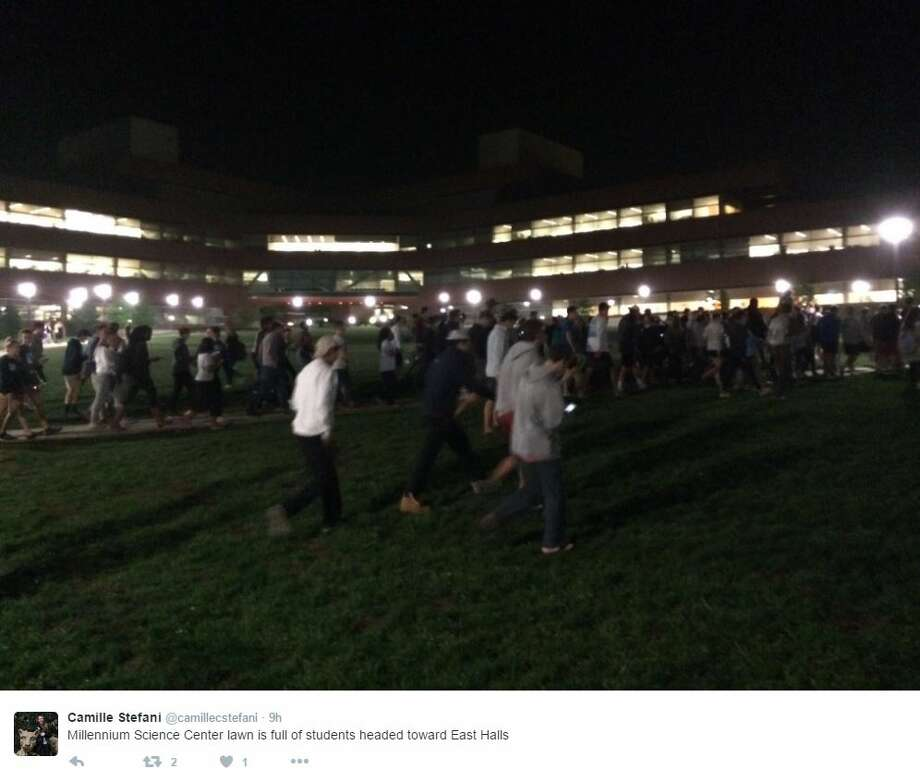 Hundreds of Penn State students marched around campus searching for an alleged clown, which made for some wild videos on Twitter. Photo: Twitter Screenshots