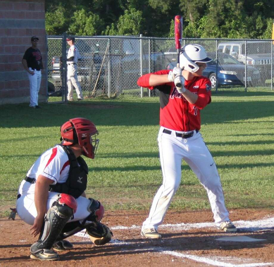 Jake Bumgarner (7) steps up to bat for the Falcons. Photo: Jacob McAdams