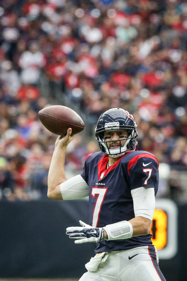 Quarterback Brian Hoyer, of the Houston Texans, looks for an open pass during the NFL football game against the Jacksonville Jaguars on Sunday, Jan. 3, 2016, at NRG Stadium. To view more photos from the game, go to HCNPics.com. Photo: Michael Minasi