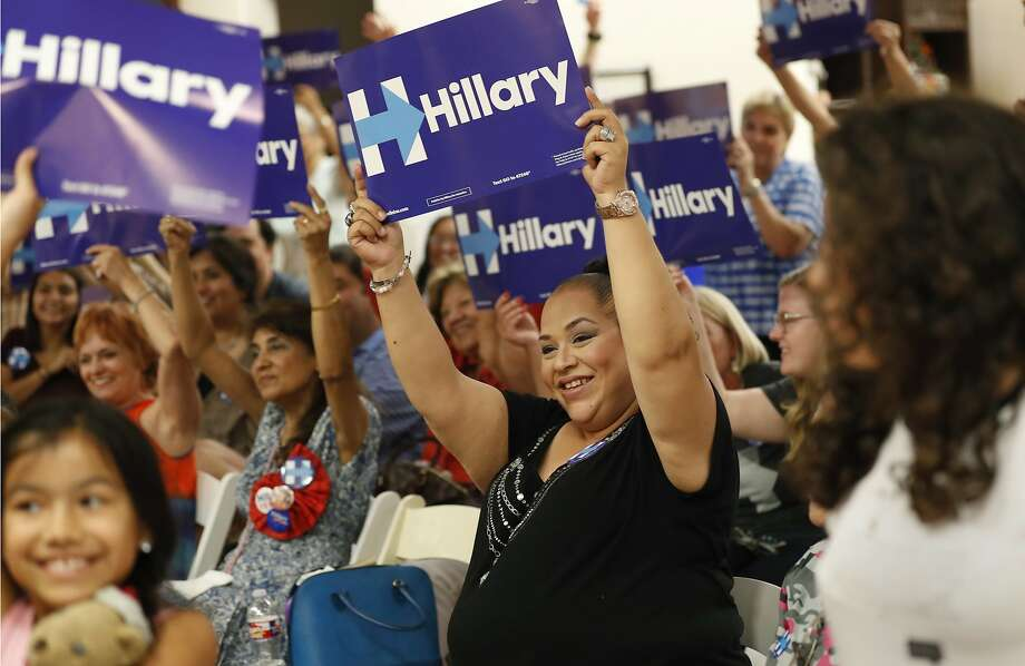 Erika Jaramillo, center, and others hold signs supporting Democratic presidential candidate Hillary Clinton during a Democratic National Convention watch party in San Antonio on Tuesday, July 26, 2016. Photo: Eric Gay, Associated Press