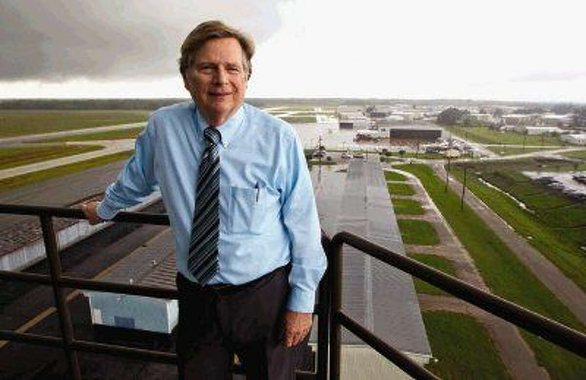 Lone Star Executive Airport Director Scott Smith atop the airport's control tower. Smith earned the prestigious Reliever Airport Manager of the Year award.
