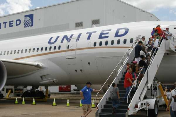 Guests had the chance to check out the inside of the United Airlines Dreamliner airplane at George Bush Intercontinental Airport Houston's 45th Anniversary Celebration June 7, 2014.