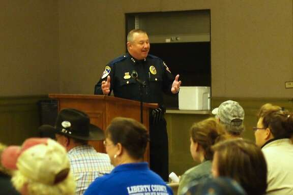 Liberty Police Chief Tom Claunch hosts the town hall meeting on Jan. 7 to address citizens' concerns regarding the Open Carry law that went into effect on Jan. 1.