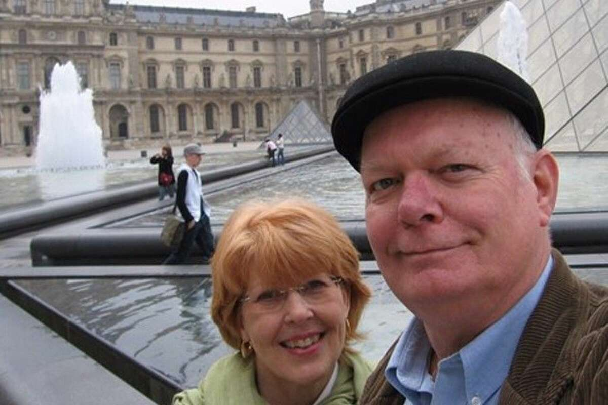 Fred King and his wife, Jo, outside the Louvre in Paris in summer 2014.