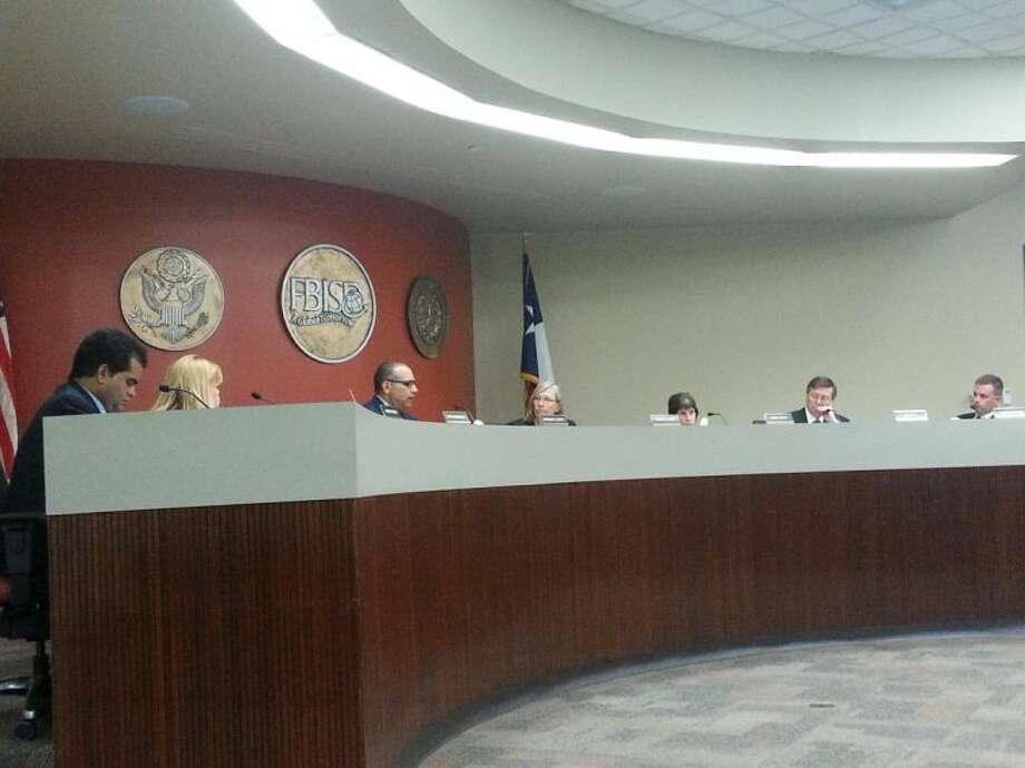 Fort Bend ISD Superintendent of Schools Dr. Charles Dupre and the FBISD Board of Trustees discuss the district's potential bond referendum Monday, June 9. Photo: Zach Haverkamp