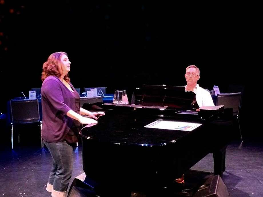 Blair Doerge and Jay Whatley rehearse for the 2015 Kingwood Kabaret. This year's event will be held May 28-30 in LSC-Kingwood's Black Box.