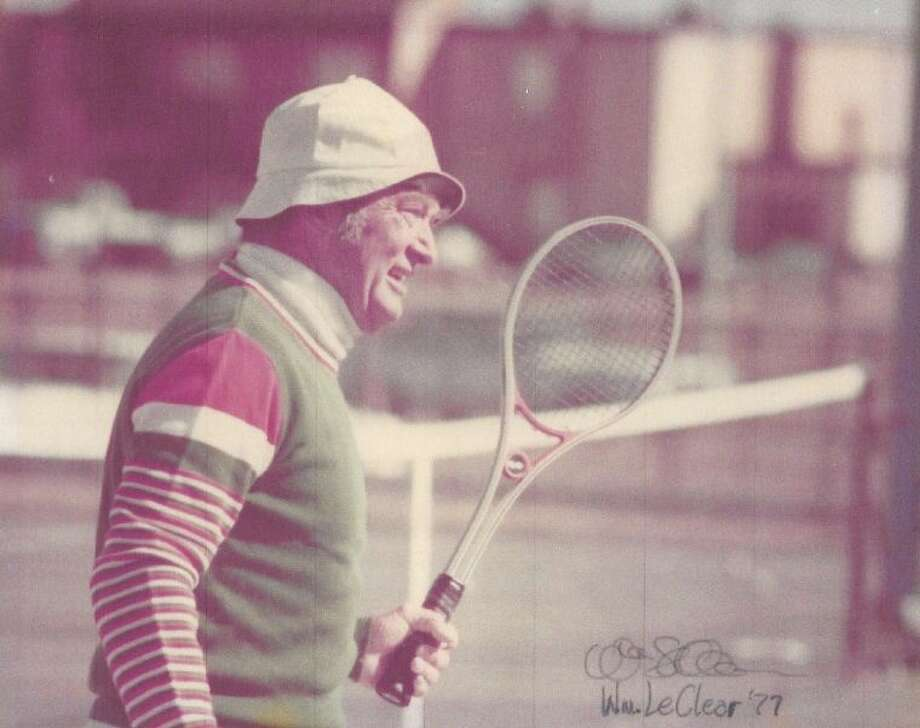 The late Lee LeClear, longtime tennis pro in Southwest Houston. Plans are under way to renovate the 41-year-old tennis center he managed for 20 years, and Friends of Lee LeClear Tennis Center has launched a 'buy a bench' campaign to help fund the $5.4 million project.