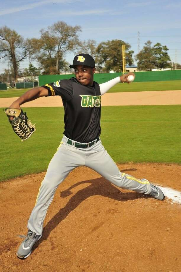 Sophomore pitcher Aaron Ford had a solid game in the loss to Angelina, hurling 7.3 innings, striking out 10, allowing two walks and one earned run. Photo credit: Rob Vanya, San Jacinto College marketing, public relations, and government affairs department.