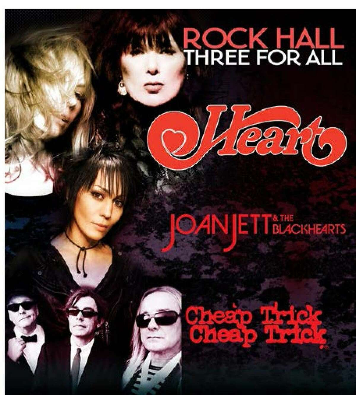 Three of rock music's most iconic bands will hit the road together this summer on The Rock Hall Three For All Featuring Heart, Joan Jett & The Blackhearts and Cheap Trick. The tour will hit Cynthia Woods Mitchell Pavilion in The Woodlands on Aug. 19.