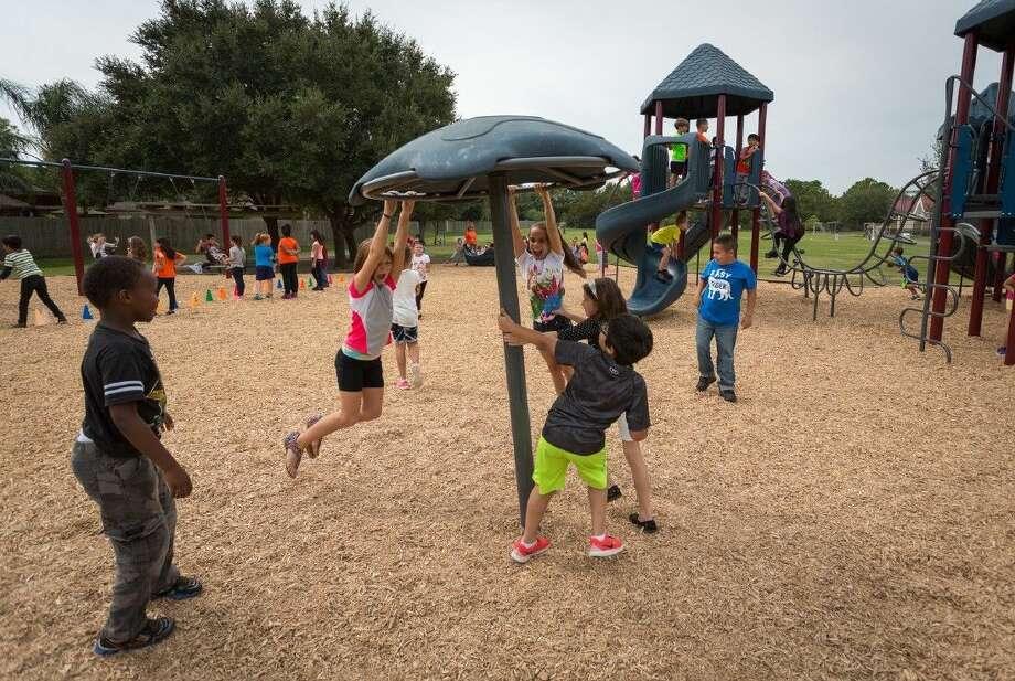 Brookwood students enjoying their new playground. Photo: Clear Creek ISD