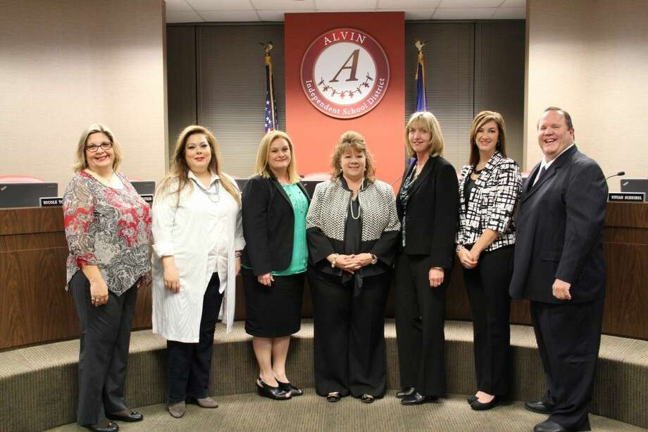 Pictured are members of the Alvin ISD School Board. From left to right: Tiffany Wennerstrom, Julie Pickren, Nicole Tonini, Cheryl Harris, Vivian Scheibel, Regan Metoyer and Earl Humbird.