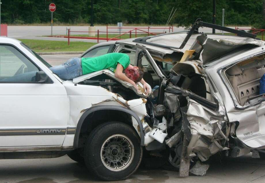 Splendora High School students participate as victims in the Shattered Lives program on Monday, May 11, allowing students to see the devastation caused by drunk driving. Photo: Stephanie Buckner