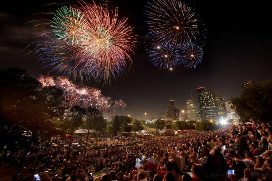Fireworks light up the Houston skyline during last year's Southwest Airlines Freedom Over Texas celebration. Photo: Richard And Donna Carson