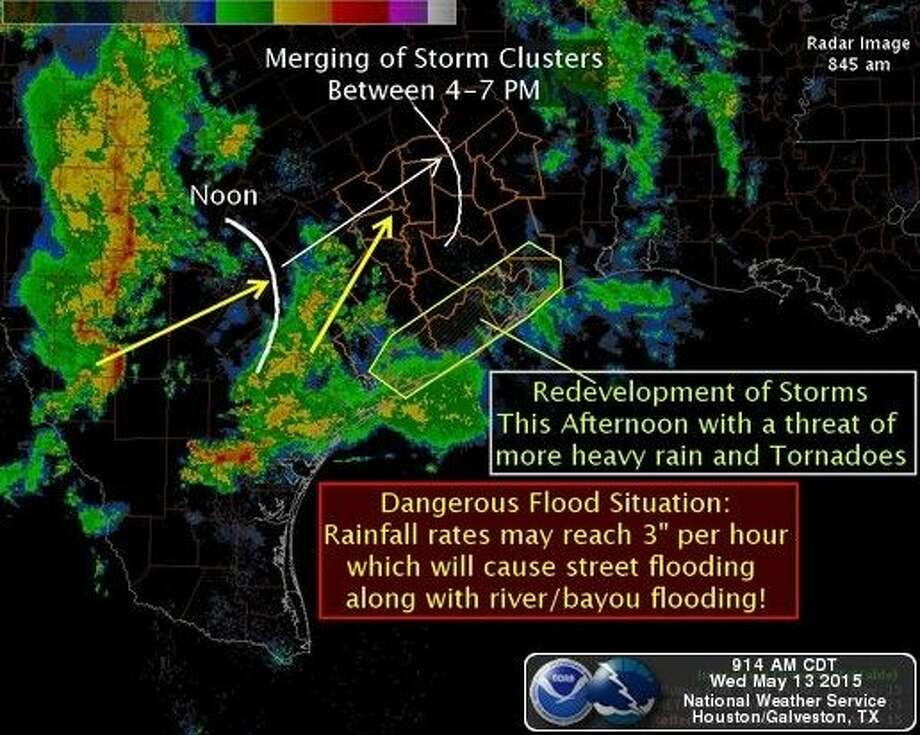 More rain is headed to the area. Graphic courtesy NWS Houston-Galveston.