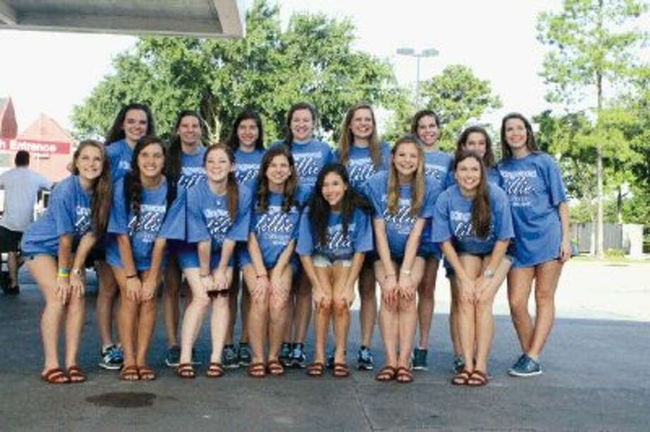 Kingwood Fillies officers pose before leaving for camp. Pictured are Fillies military officers (front row, from left) Amy Felder, Caroline Knox, Sydney Ballou, Madeline Snell, Sydney Fletcher, Col. Hannah Lam and Ashley Parnell; and social officers (back row, from left) Chelsea Koach, Kiana Kemery, Emily Smith, Emily Hartnett, president Teya Kroeker, Emmie Dalton, Madison Wenner and Holly Ungerecht.