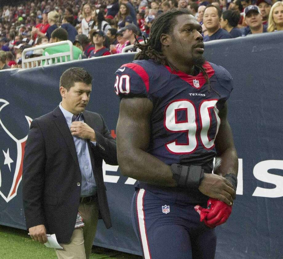 Houston Texans linebacker Jadeveon Clowney, shown here earlier this season, didn't play Saturday against Kansas City due to a foot injury.
