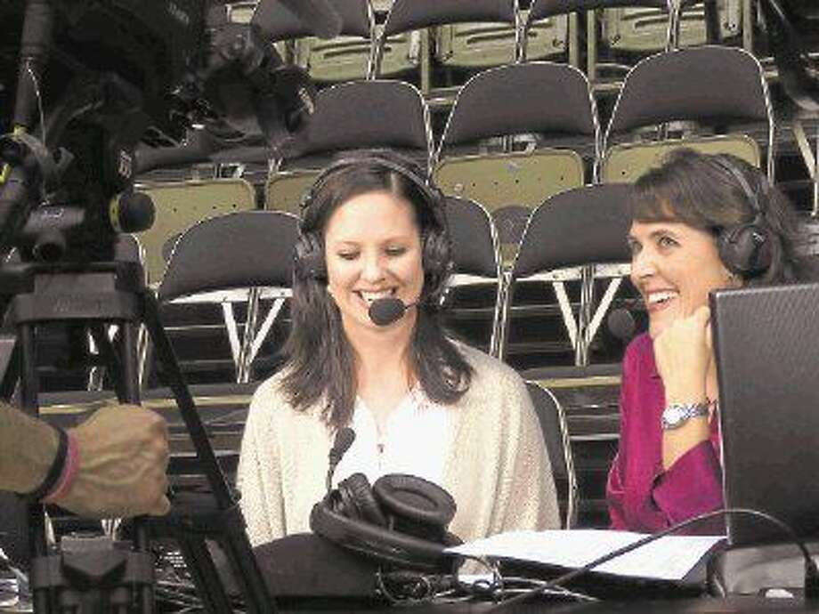Former Pearland volleyball player Jenny Hazelwood (left) has found her niche as a volleyball analyst for ESPN. She is shown with play-by-play partner Cara Capuano. Photo: SUBMITTED PHOTO