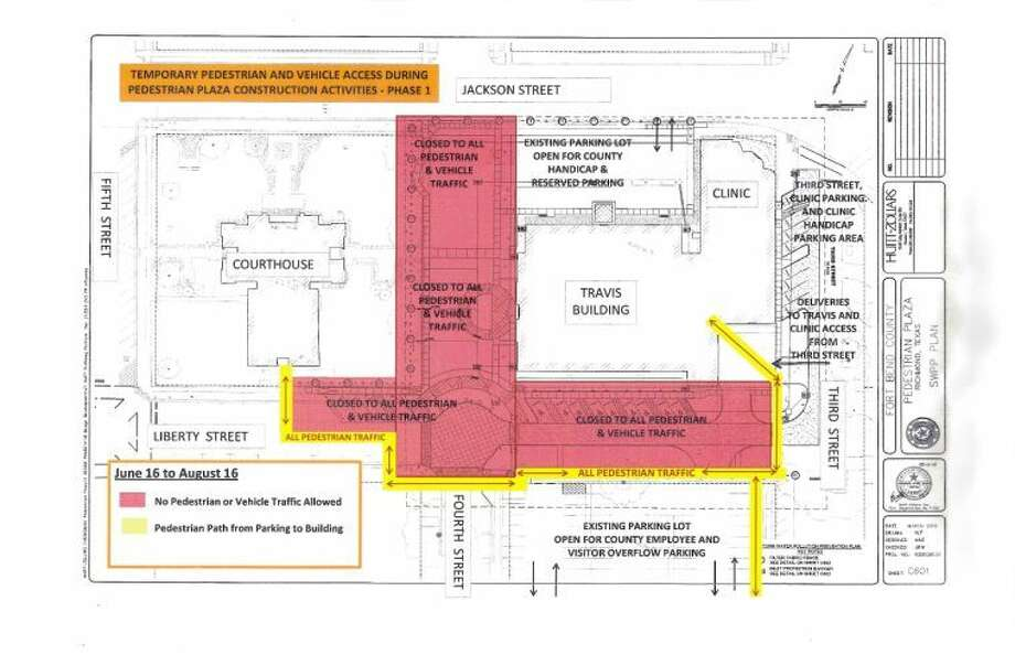 A map of the traffic restrictions at set to begin Monday, June 16, around the Historic Courthouse in downtown Richmond. Photo: Image Courtesy Fort Bend County
