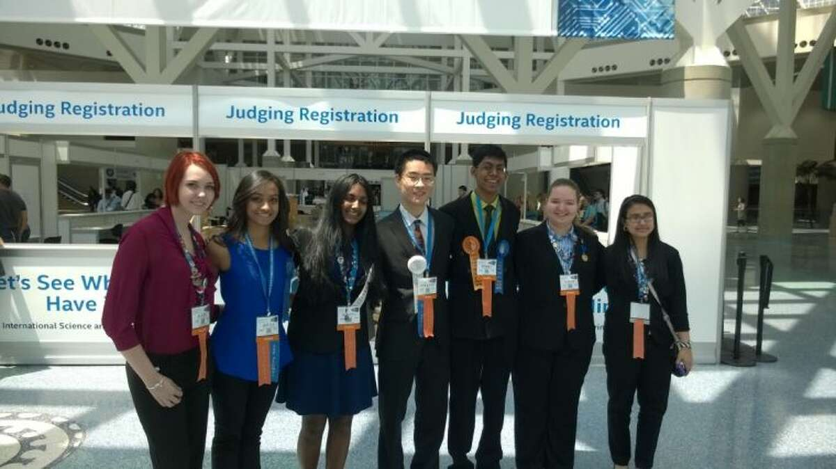 From left to right, CCISD High School students attending the 2014 International Science & Engineering Fair were Kate Rutherford, Divya Koyyalagunta, Kavita Selva, William Wu, Perry Alagappan, Sarah Hancock, Tanya Kumar (ISEF participant, did not place in awards).