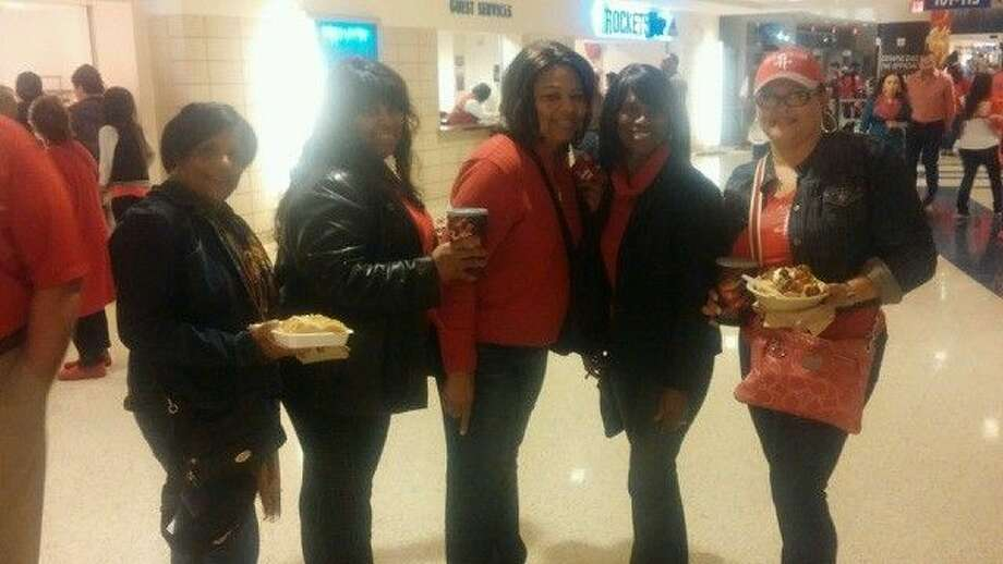 Charlotte McGrough (second from the right) is a member of Fun4Seniors and enjoyed a great evening with friends at the Houston Rockets game at the Toyota Center on Thursday, Jan. 7, 2016.