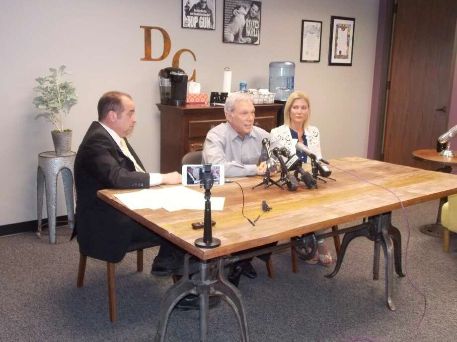 From left Wayne Dolcefino of Dolcefino Consulting, Kevin Maley and Karen Maley at May 13 press conference regarding cyber-bullying threats against their 14-year old daughter