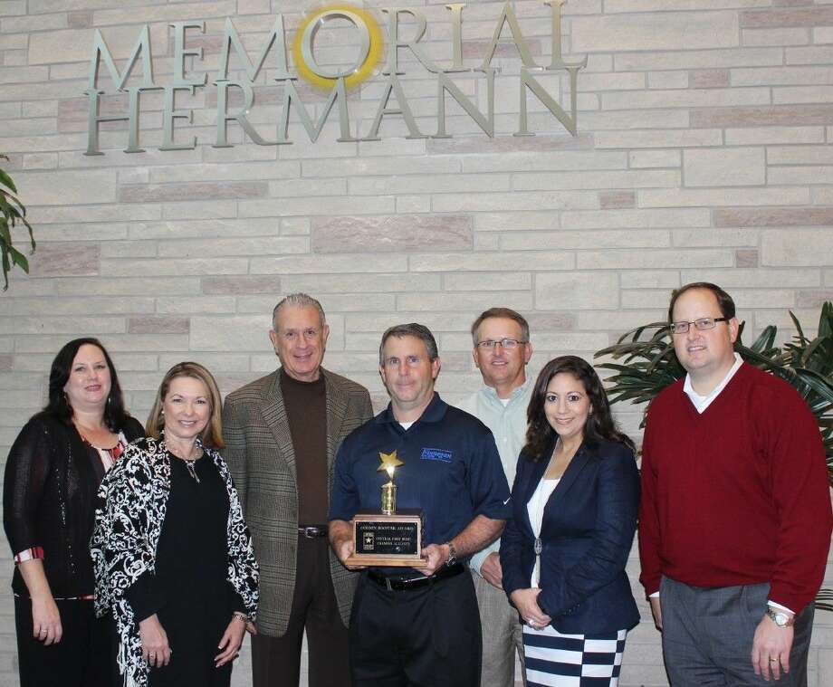 Pictured from left are Leslie Norman, Chief Nursing Officer Memorial Hermann Sugar Land; Regina Morales, President-CEO Central Fort Bend Chamber; Dr. William B. Riley, Chief Medical Officer Memorial Hermann Sugar Land; Vince Finnegan, 2015 Treasurer of the Board, Central Fort Bend Chamber and 2014 Business Person of the Year; Jeff Haley, 2016 Chairman of the Board, Central Fort Bend Chamber; Melissa Garcia-Martin, Immediate Past Chairman of the Board, Central Fort Bend Chamber; and Greg Haralson, Chief Executive Officer Memorial Hermann Sugar Land.