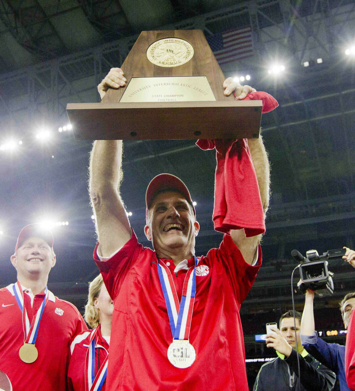 Katy head coach Gary Joseph celebrates after defeating Austin Lake Travis 34-7 to win the Class 6A Division II state championship Dec. 19 at NRG Stadium in Houston. Joseph was honored prior to the game during a ceremony recognizing the 2016 inductees into the Texas High School Football Hall of Fame.