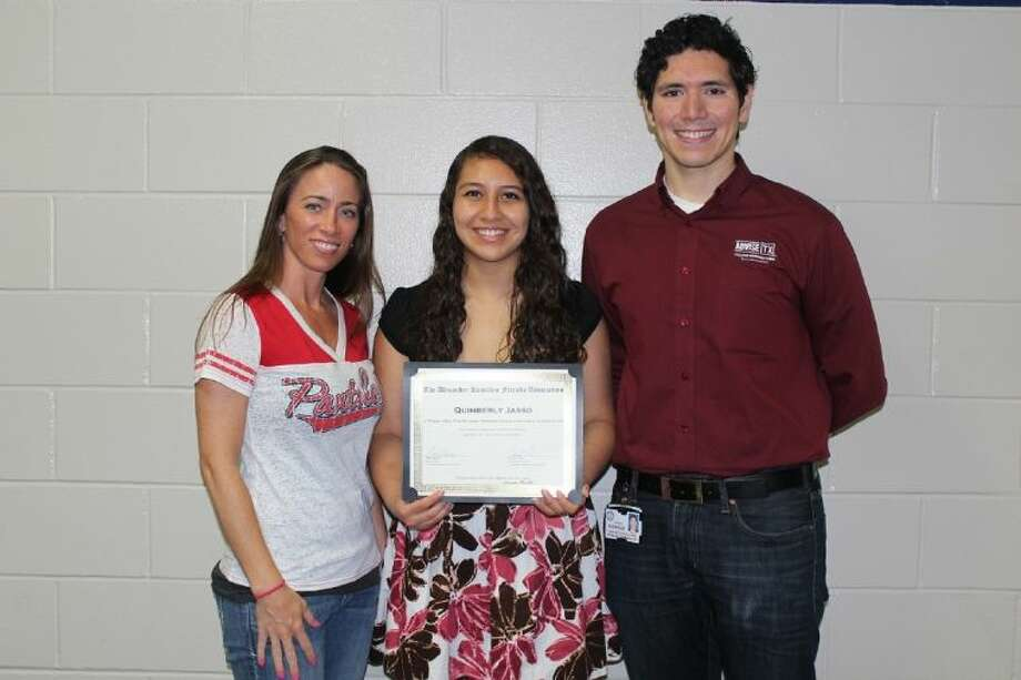 Cypress Springs High School junior Quimberly Jasso, pictured with college and career specialists Sarah Shiver and Aaron Rodriguez, received the Alexander Hamilton Citizenship Achievement Award. Photo: Submitted Photo
