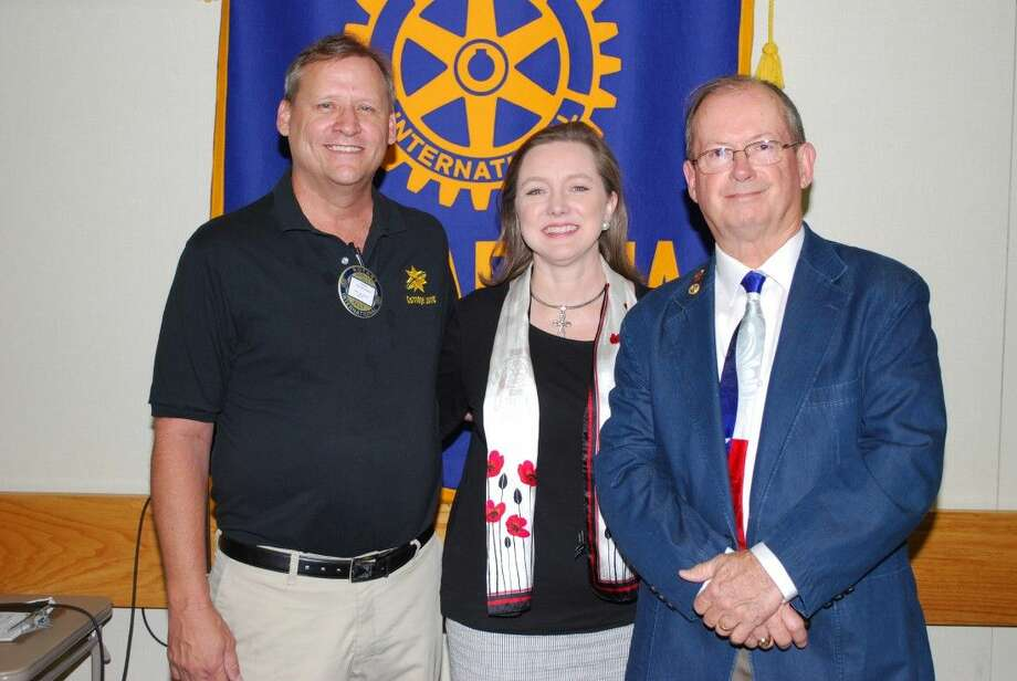 Pasadena Rotarians heard an interesting though controversial presentation by Judge John Delany (R), pictured with President Niki Whiteside and Program Chairman Gary Nickelson.