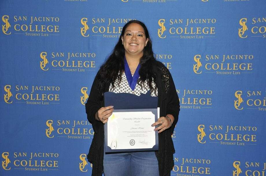 San Jacinto College student veteran, Johanna Hunter, was recent recognized at the 2015 San Jacinto College South Campus Student Award Ceremony. Photo credit: Andrea Vasquez, San Jacinto College marketing, public relations, and government affairs department.