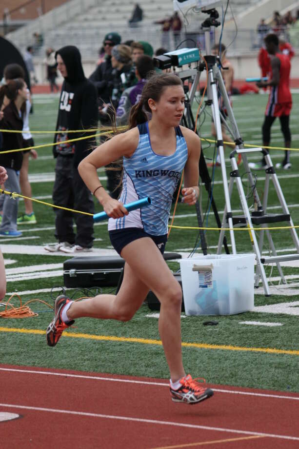 Mustang Abby Guidry running in the 4 x 800 meter relay at the Sam Mosley Relays. The Mustangs took home the gold in this event and in the team competition.