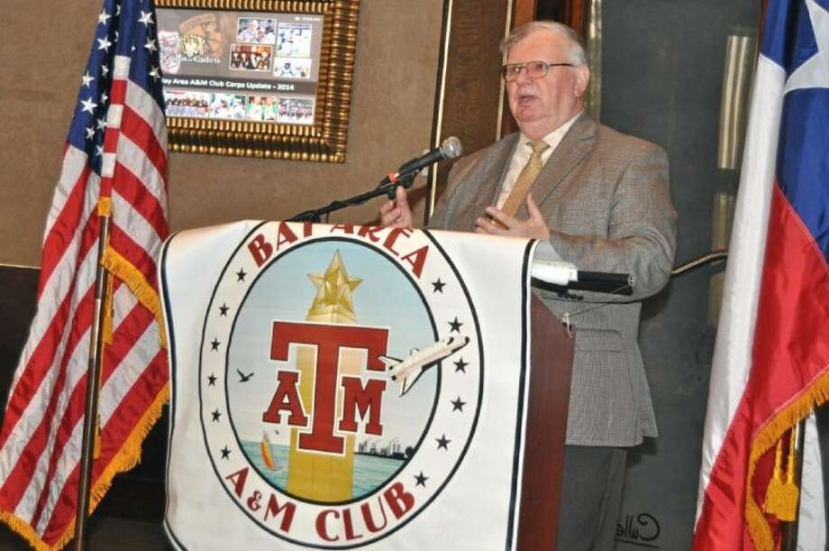 Eugene Tulich, Chairman of the Houston Military Affairs Committee described advantages of moving the Africa Command from Germany to Houston in the Ellington Field Area. The move would result in a substantial saving of money and would relocate the Command to an area better able to serve its needs. Photo: JACKIE WELCH