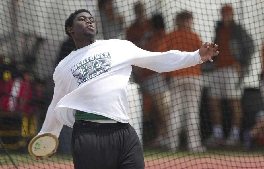 Hightower's Gabriel Oladipo competes in the Class 6A boys discus May 15 during the UIL State Track & Field Championships in Austin. Oladipo qualified for the IAAF World Youth Championships in the discus. Go to HCNpics.com to view more photos from the state meet. Photo: Staff Photo By Jason Fochtman