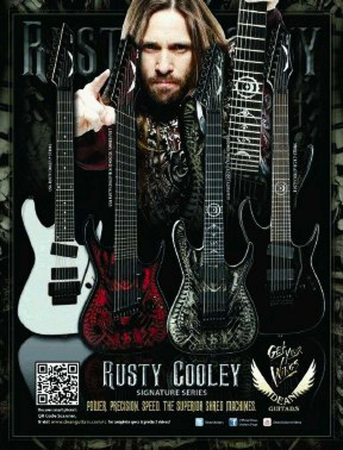 Shred guitar maestro Rusty Cooley has numerous signature Dean Guitar production model guitars named after him. Hermes Music will offer deals on Dean Guitars during the day of the June 27 guitar clinic event.