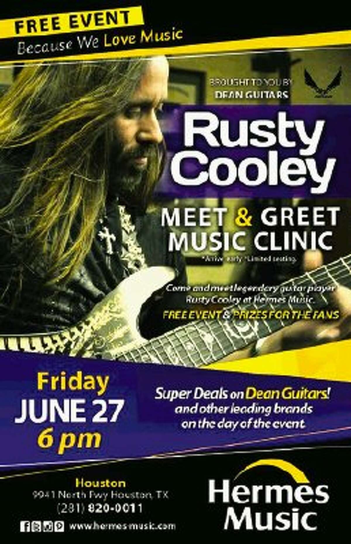 On Friday, June 27, Hermes Music will welcome shred guitar legend Rusty Cooley who will be making a live appearance at the store at 6 p.m.