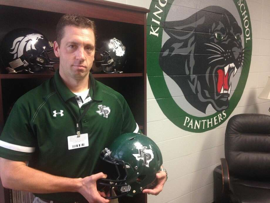 New Kingwood Park head football coach Clayton Maple settles into his new office during his first official week of work as the Panthers head coach.