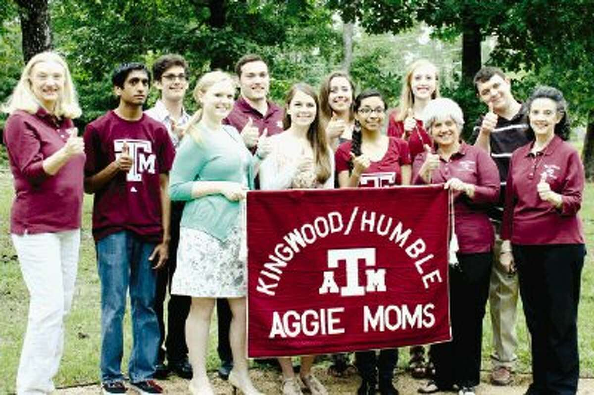 Pictured left to right are Mary Widmier, Aggie Moms VP; Kevin Patel, Humble HS; Cyrus Funkhouser, New Caney HS; Coryne Levine, Kingwood Park HS; Colton Hutchinson, Atascocita HS; Shelby Smith, Summer Creek HS; Devon Drew, Kingwood Park HS; Jazmin Salazar, Quest HS; Brittany Nelson, Kingwood HS; Terri Fitzgerald, Aggie Moms philanthropy chairman; Brent Hegwood, Kingwood Park HS and Susan Clifford, Aggie Moms scholarship chairman.