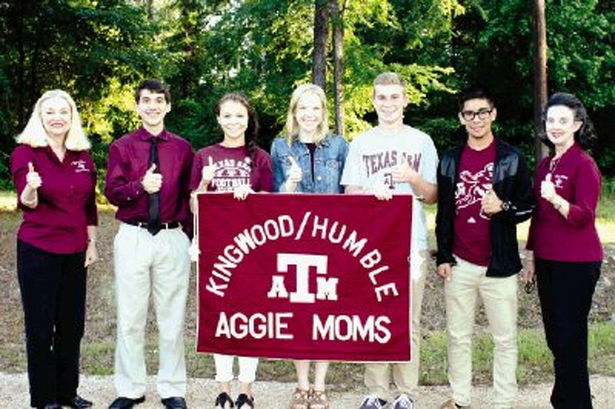 Pictured left to right are Mary Widmier, Aggie Moms VP; Nathan Snyder, Summer Creek HS; Catherine Hughes, Atascocita HS; Sarah Bortnem and Trevor McKercher, Kingwood HS; Eduardo Avila, Humble HS and Susan Clifford, Aggie Moms scholarship chairman. Also receiving scholarships but not pictured are Victoria King and Josh Worthington, Humble HS.