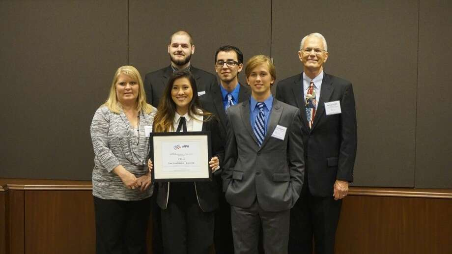 LSC-Kingwood team poses after winning first place at the AFPM Recruitment Challenge. From left to right: Jennifer Taylor, Tim Thurman, Ashley Gallegos, Daniel Concalves, Andrew Chapman, and Professor Michael Griffith.