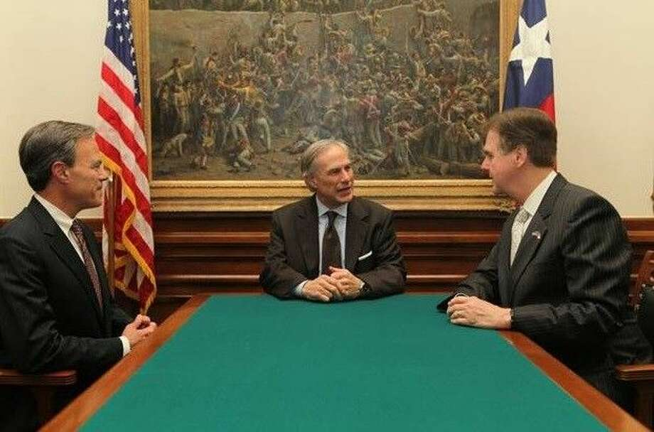 Speaker Joe Straus, Governor Greg Abbott, Lt. Governor Dan Patrick, Thursday, May 21, 2015.