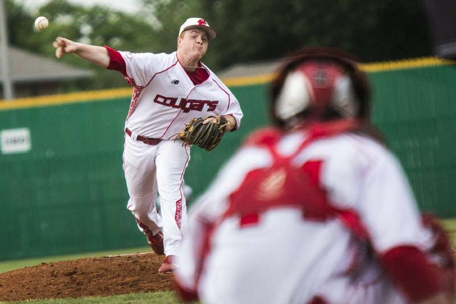 Crosby's Nathan Gabryszwski (34) pitches during Crosby's 9-0 victory over Ridge Point to take a 1-0 lead in the regional quarterfinal series May 21, 2015, at McGuire Field in Pasadena.