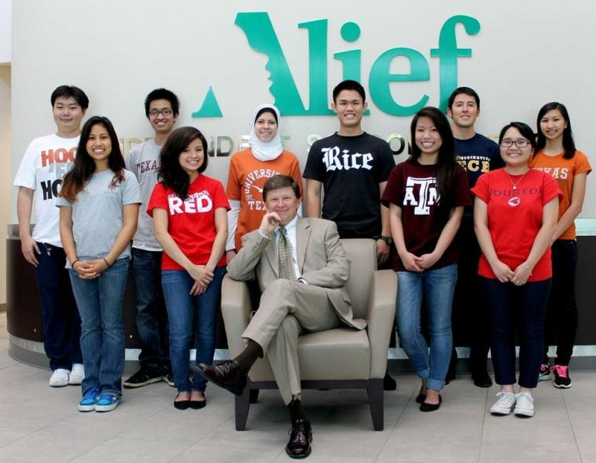 Superintendent HD Chambers with Alief ISD 2014 valedictorians and salutatorians.