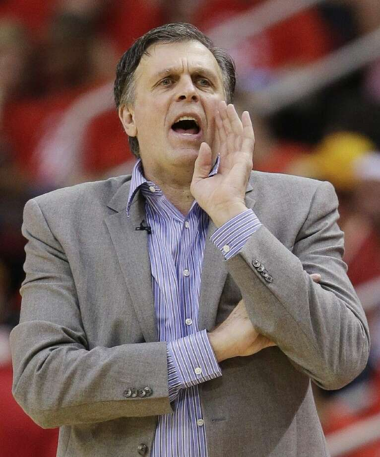 Houston Rockets coach Kevin McHale works the sideline against the Golden State Warriors during the second half.